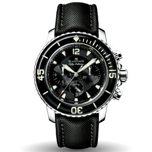 New Blancpain Fifty Fathoms Chronographe Flyback Black Dial on Strap