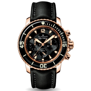 New Blancpain Fifty Fathoms Chronographe Flyback Black Dial Rose Gold on Cloth Strap