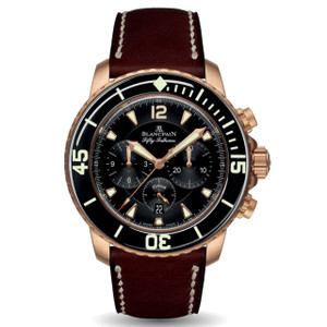 New Blancpain Fifty Fathoms Chronographe Flyback Black Dial Rose Gold on Calf Strap