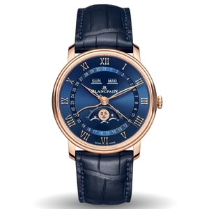 New Blancpain Villeret Quantième Complet Blue Dial Rose Gold on Strap