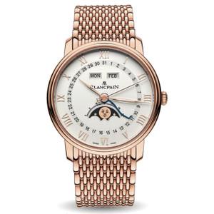 New Blancpain Villeret Quantième Complet White Dial Rose Gold on Bracelet
