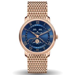 New Blancpain Villeret Quantième Complet Blue Dial Rose Gold on Bracelet