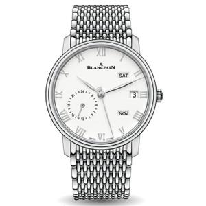 New Blancpain Villeret Quantième Annuel GMT White Dial Steel on Bracelet