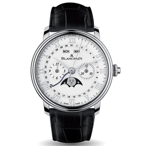 New Blancpain Villeret Chronographe Monopoussoir White Dial Steel on Strap