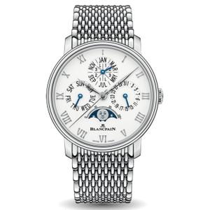 New Blancpain Villeret Quantième Perpétuel Phases de Lune White Dial Steel on Bracelet