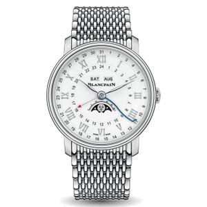 New Blancpain Villeret Quantième Complet Phases de Lune GMT White Dial Steel on Bracelet