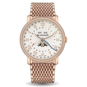 New Blancpain Villeret Quantième Complet Phases de Lune GMT White Dial Rose Gold on Bracelet