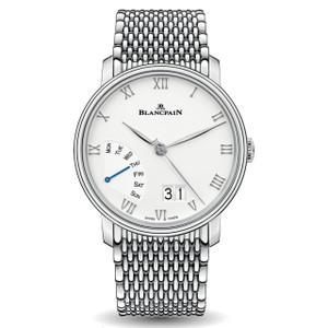 New Blancpain Villeret Grande Date Jour Rétrograde White Dial Steel on Bracelet