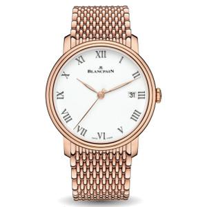 New Blancpain Villeret 8 Jours Rétrograde Rose Gold on Bracelet