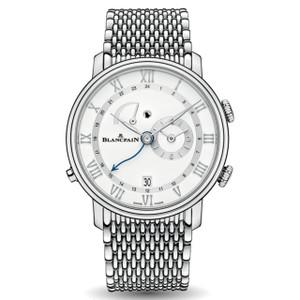 New Blancpain Villeret Réveil GMT White Dial Steel on Bracelet