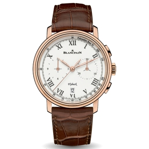 New Blancpain Villeret Chronographe Flyback Pulsomètre White Dial Rose Gold on Strap