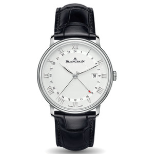 New Blancpain Villeret GMT Date White Dial Steel on Strap