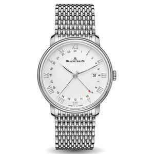 New Blancpain Villeret GMT Date White Dial Steel on Bracelet