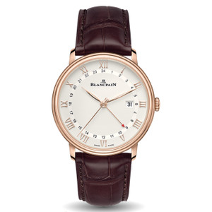 New Blancpain Villeret GMT Date White Dial Rose Gold on Strap