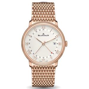 New Blancpain Villeret GMT Date White Dial Rose Gold on Bracelet
