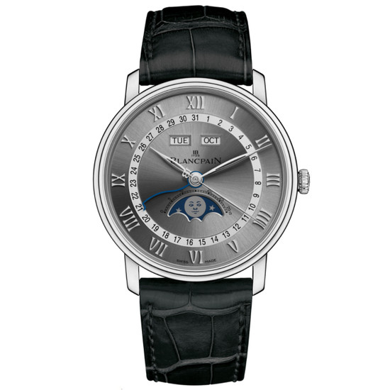 New Blancpain Villeret Complete Calendar Moonphase Silver Dial on Strap