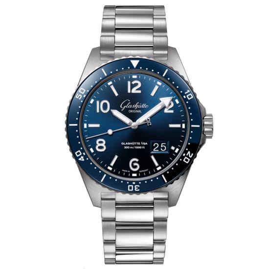 New Glashütte Original Seaq Panorama Date Blue Dial on Bracelet