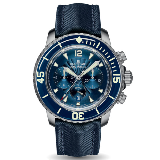 New Blancpain Fifty Fathoms Chronographe Flyback Blue Dial on Strap