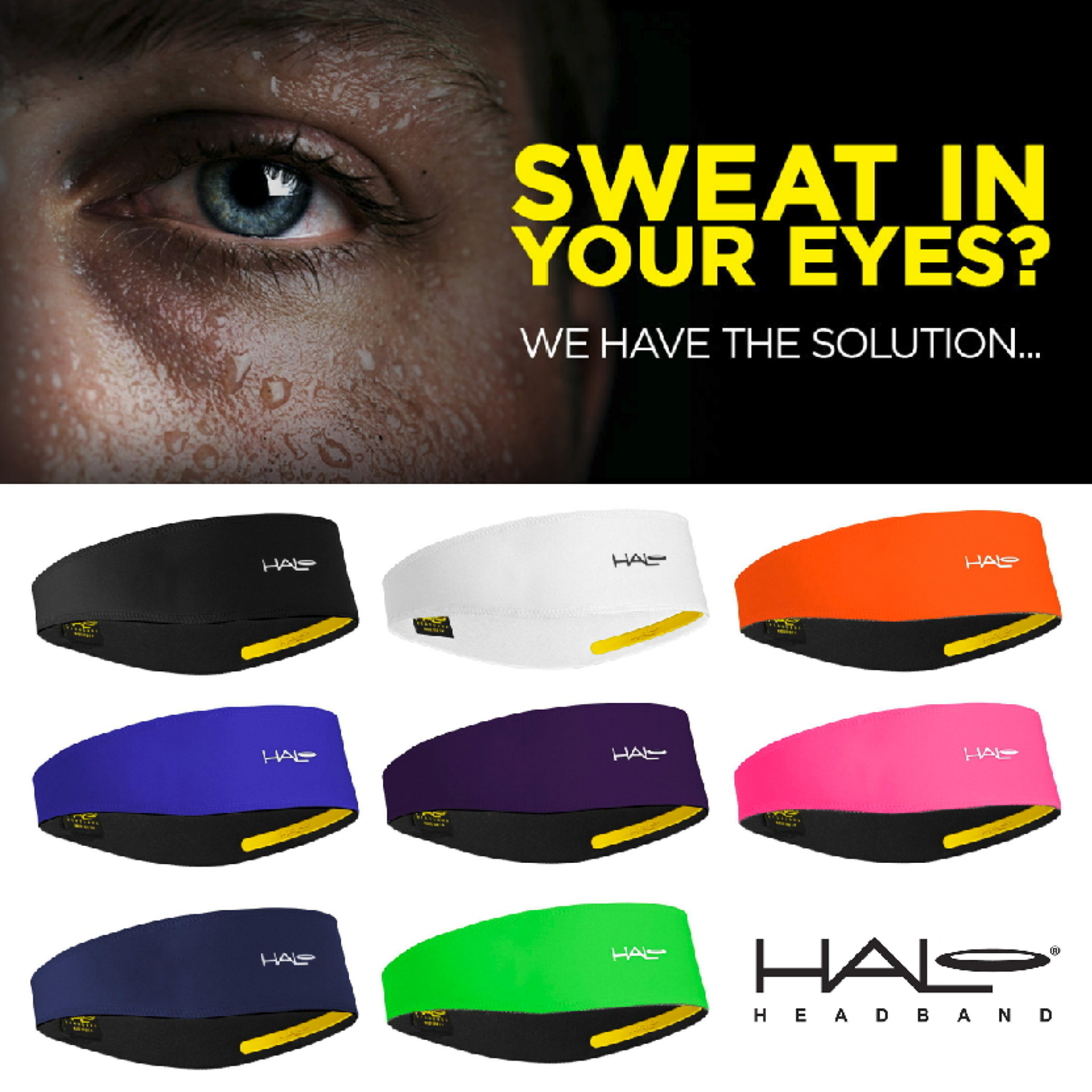 Black Cycling Halo 2 Pullover Headband with Sweat Block Technology Running