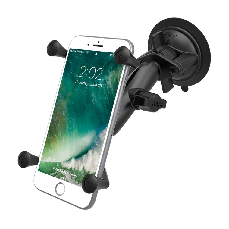 RAM Black Large X-Grip with Twist Lock Suction Cup Base Rugged Vehicle Mount - 15-05348