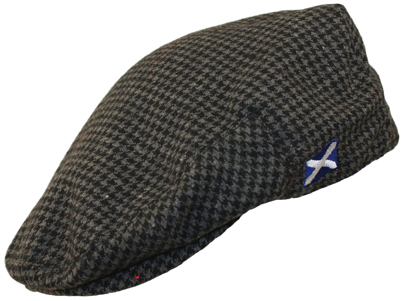 Scottish Cap Tweed Cap Co Saltire Logo Flat Cap Grey Houndstooth Design Flat  Cap 4ed10c4c5b2
