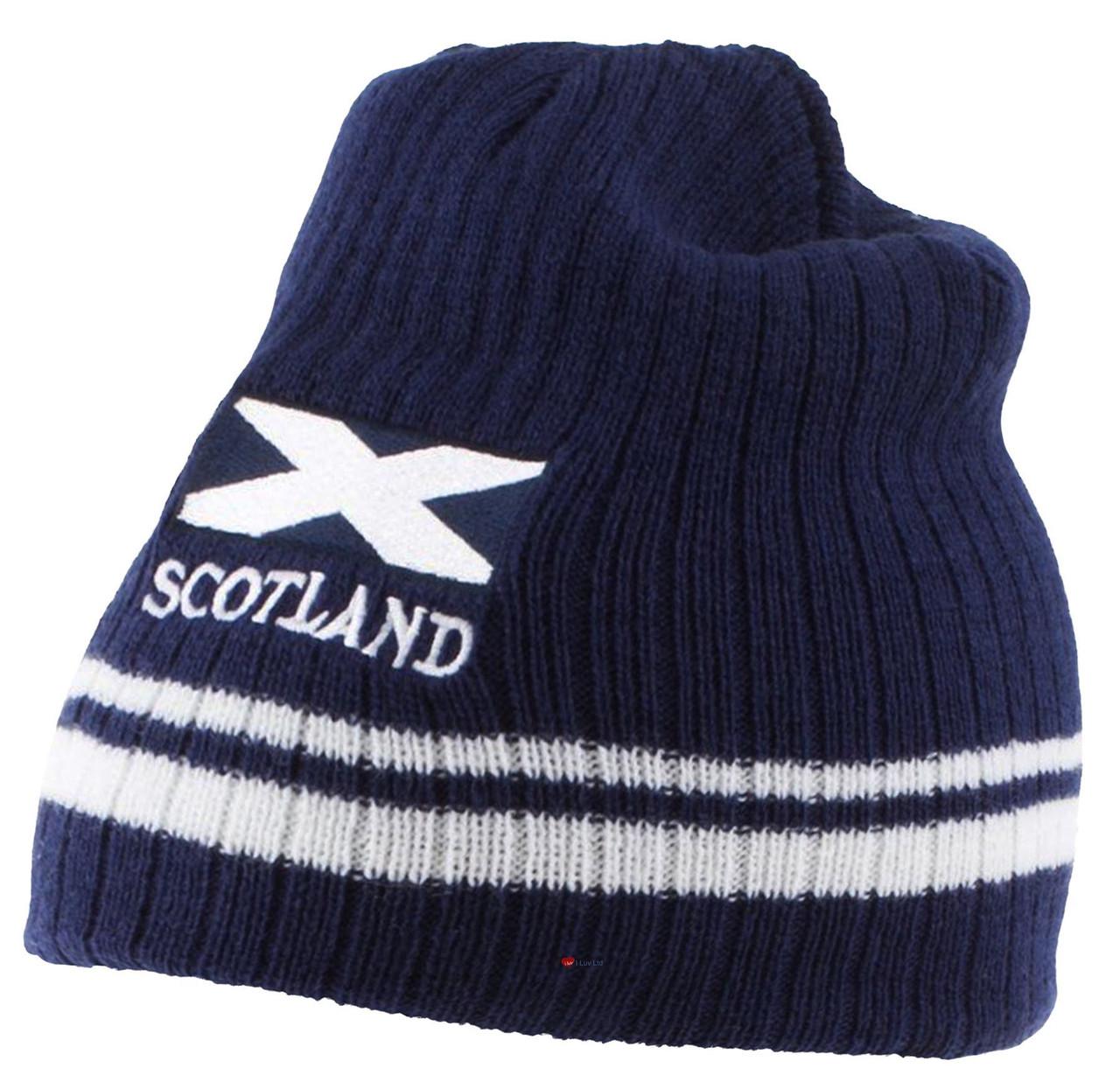 b5bc2d43842 Saltire Flag Scotland Ribbed Beanie Winter Ski Hat Striped Navy White  Scottish Gift
