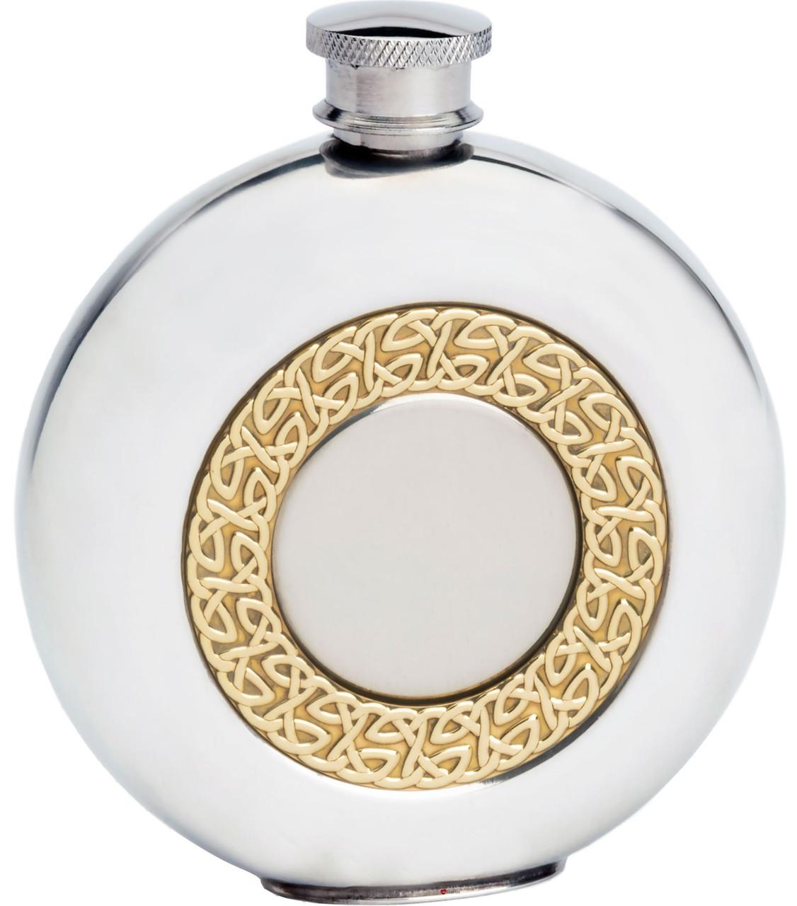 Pewter /& Brass Hip Flask Celtic Free Engraving