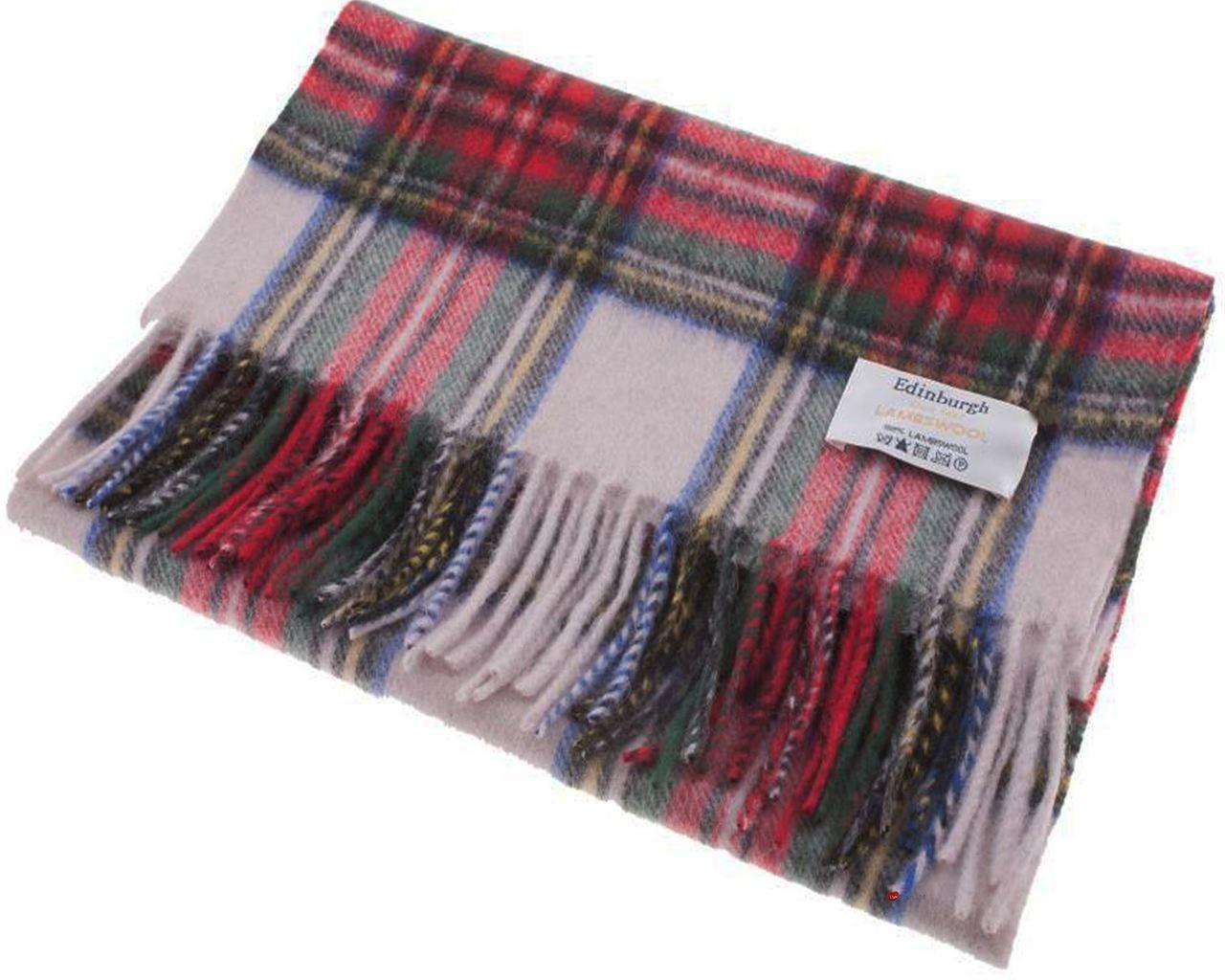 Edinburgh 100/% Lambswool Luxury Scottish Tartan Scarf Stewart Grey Dress