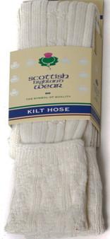 Mens Kilt Hose Socks 10 Percent Wool Plain White UK 7-11