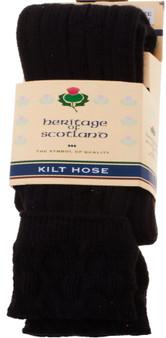 Mens Kilt Hose Socks 10 Percent Wool Plain Black UK 7-11
