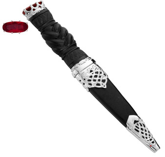 Sgian Dubh Plated Open Knot and Ruby Hued Cap on Braid Handle