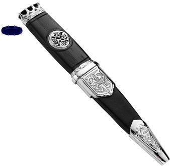 Sgian Dubh Plated Celtic Saltire Badge and Sapphire Hued Top Stone