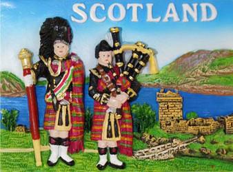 Resin Scottish Fridge Magnet With Pipers / Castle Design