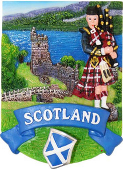 Resin Scottish Fridge Magnet With Piper Castle Saltire Crest On Spring Design