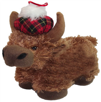 Cute Fluffy Soft Highland Cow Childrens Toy with a Tammy Hat