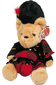 Soft Teddy Bear Toy for Children With Adorable Tartan Kilt Outfit and Bagpipes