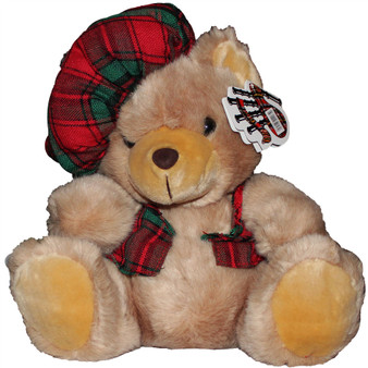 Soft Fluffy Teddy Bear Toy for Children With Adorable Tartan Waistcoat and Hat