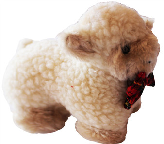 Cute Fluffy White Lamb Soft Toy for Children with Cute Tartan Bow