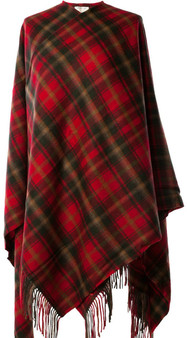 100% Lambswool Cape with Dark Maple Tartan Design