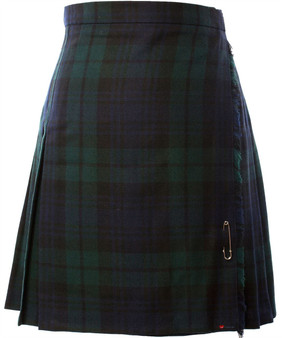 Ladies Knee Length Kilt Skirt Black Watch Tartan Polyester Mix