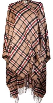 Ladies Luxurious Cashmere Cape in Thomson Camel Tartan