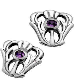 Sterling Silver Thistle Taper Amethyst Set Earrings 10mm