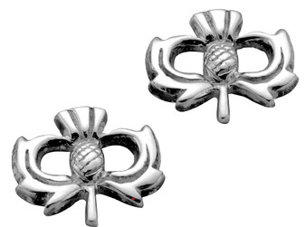 Sterling Silver Thistle Earrings Crafted in Scotland Hand Made - 12mm