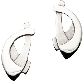 Earrings Crafted Sterling Silver Stud Decorated Celtic Interlace Curves