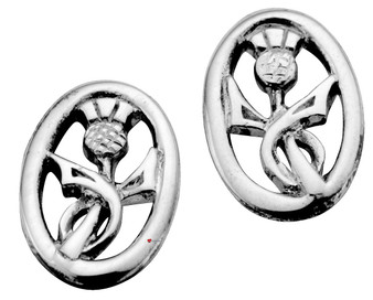 Sterling Silver Thistle Stylised Oval Earrings 15mm
