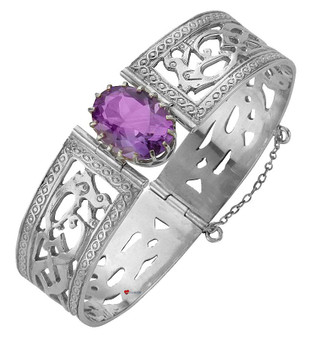 Bracelet Sterling Silver Celtic Interlace Serpents set Amethyst