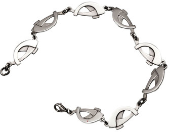 Bracelet Crafted Sterling Silver Linked Interlace Curves Segments 200mm