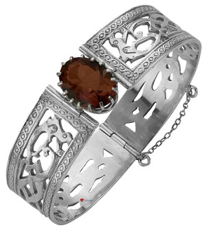 Bracelet Sterling Silver Celtic Interlace Serpents Smokey Quartz