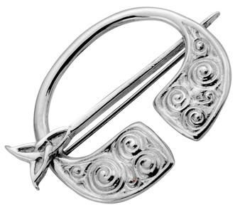 Pennanular Brooch Sterling Silver Celtic Swirl Swivel Pin Style 35mm