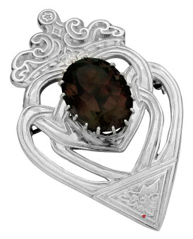 Luckenbooth Brooch Sterling Silver Celtic Interlace Oval Smokey Quartz